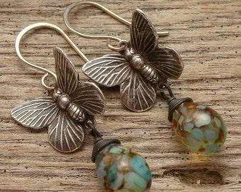 BUTTERFLY - Handmade Lampwork Drops, Silver Butterflies, Sterling Ear Hooks - Earrings
