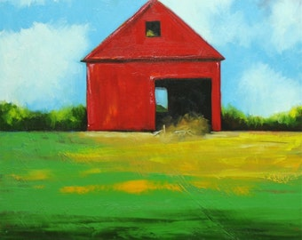 Landscape painting 269 24x24 inch red barn original oil painting by Roz