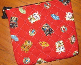 Quilted Travel Earring Cosmetic Pouch Maneki Neko Design Japanese Asian Fabric Red