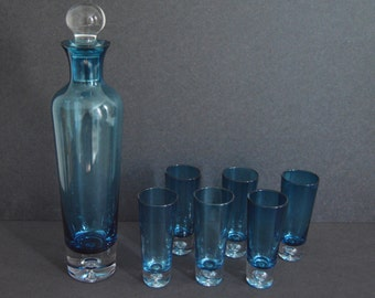 Blue Decanter with Stopper and 6 Glasses {High-Quality Liquor Set Wine Whiskey Sherry Wine Vintage Drinkware  Barware Bar Cart}