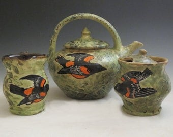 Tea pot creamer and sugar set with oriole birds handmade pottery