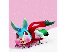 bunny sled print 5 x 7 HARE COMES BUNNY