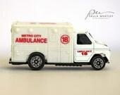 ambulance art, ambulance photo, toy ambulance, boys nursery art, boys nursery decor, boys room decor, boys room art, man cave art, EMT gift