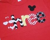 Boys Mickey Mouse Third Birthday THREE shirt - size 4 short sleeve shirt red black yellow chevron polkadots argyle