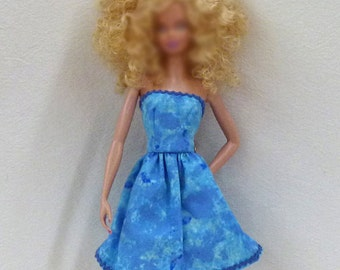 "Blue 11.5"" fashion doll Clothes Handmade Dress ready to mail"
