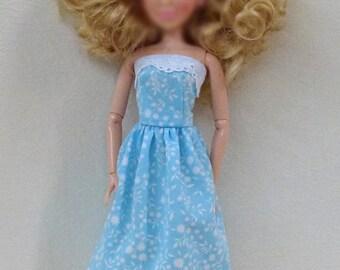 "Blue Handmade 11.5"" Fashion doll dress"