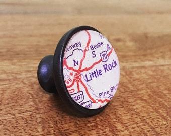 Little Rock Map Cabinet Knob - Custom Drawer Pull - DIY - Kitchen Remodel - Oil-Rubbed Brass - Renovation - HGTV - Arkansas