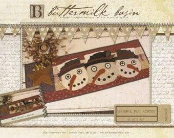 Primitive Folk Art Wool Applique Pattern - Seasonal Flag Runner Winter  Snowmen - Buttermilk Basin