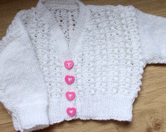 Knitted bobble cardigan with heart buttons (newborn to one month)