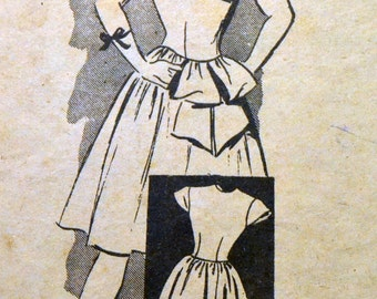 Vintage 1940s Sewing Pattern Marian Martin Teens' Dress with Capelet Size 12  Bust 30 Inches Uncut Complete