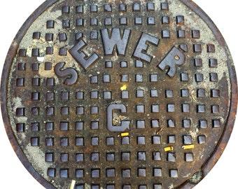 "DOORMAT - Boston Sewer ""G"" Manhole Cover - Original Photography"