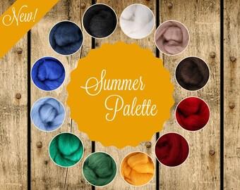 Roving Packs, Wool Roving, Summer Palette, Wool Roving for Felting, Wool Roving for Spinning, Wool Roving for Sale, Needle Felting Supplies