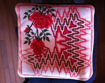 """vintage  handmade needlepoint  pillow vintage 15"""" by 14"""" inch Roses orange rust  beautiful colors"""