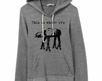 This is Where it's At At-At Hoodie Sweatshirt Alternative Apparel Kangaroo Pocket long sleeve sweater