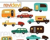 60% OFF SALE Cars and Caravans Digital Clipart 07547