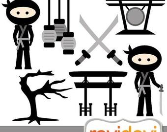 30% OFF SALE Go Ninja Go 07408.. Black ninja clipart.. instant download