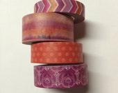 Washi tape 4 pack 10 yards each Pink Purple Orange Mix #2