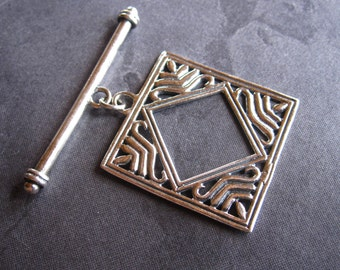 Jumbo Bronze African Diamond - Solid Sterling Silver toggle clasp - square - 28mm
