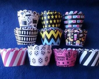 Custom Movie Night Cupcake Wrappers (12)