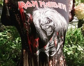 Iron Maiden Black Bleach Dyed T shirt size Small with fringe and ladder back