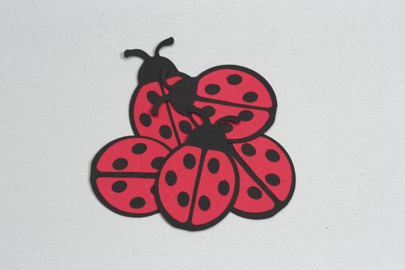 Ladybug Die Cuts-Ladybug Paper Die Cuts-Paper Ladybugs-Ladybug Confetti-Ladybug Invitations-Scrapbook Supplies-Invitation Supplies