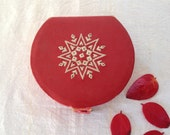 Vintage Leather Box, Beautifully Hand Stitched Box in Red Leather, A Sweet Valentines Gift