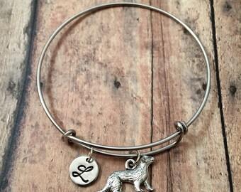 Ferret initial bangle- ferret jewelry, pet ferret bracelet, gift for ferret owner, small animal jewelry, ferret gift, pet lover gift