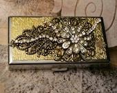 Cigarette Case ID Wallet/GoldAnd Rhinestones