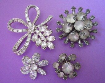 Jewelry DeStash Vintage Rhinestone Brooches and Earring