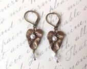 Antique Brass Leaf Swarovski Crystal White Pearl Dangle Drop Earrings Garden Nature Lover Gift