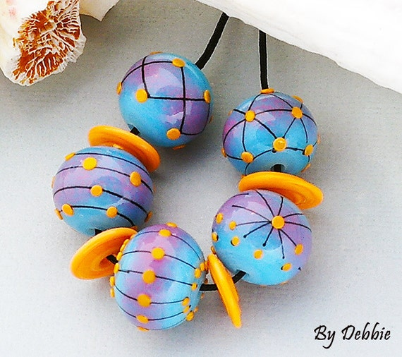 DSG Beads Debbie Sanders Artisan Handmade Organic Lampwork Glass - Made To Order ~Surf's Up~  Set of Rounds