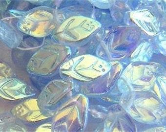 New 25 CZECH GLASS Leaf Beads Icy Blue AB 8x12mm