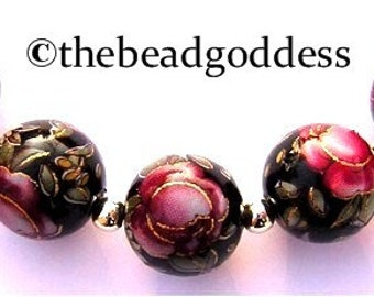 Handmade Japanese TENSHA  Beads Red Rose Black 10mm-5 pcs.