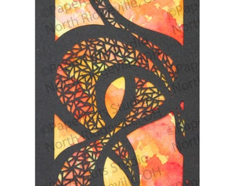 Embrace Papercut ACEO, Handcut Original, Watercolor
