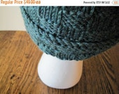 Sale Hand Knit Boyfriend Beanie - Geometric Texture in Heathered Teal