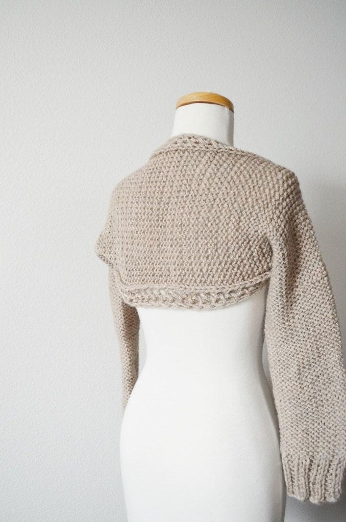 Cozy Wool Shrug Hand Knit Women's Shrug Sweater in Beige
