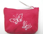 Faux Suede Embroidered Coin purse - Mini coin purse - Small coin purse - Zipper coin purse - Wallet, Swarovski crystals, butterflies