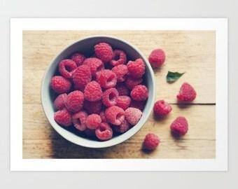 food photography- kitchen art- red raspberries- fruit still life- modern-Sweet Red  fine art photograph- foodie art- wall art