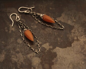 Orange Adventurine Bullet Drop Earrings with Chain
