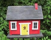 Handmade Primitive Country Cabin Birdhouse.  Red Yellow Door Hand Painted Chimney Garden,  Decore Bird House