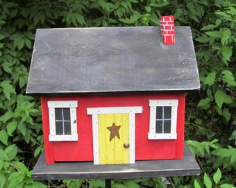 Primitive Country Cabin Red Yellow Door Hand Painted Chimney