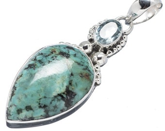 Turquoise Necklace Pendant - Tibetan Turquoise Blue Topaz Necklace Teardrop - Gemstone Jewelry - Free Spirit