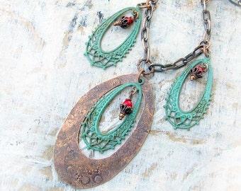 Rustic Boho necklace Copper Patina verdigris Southwest Bohemian jewelry