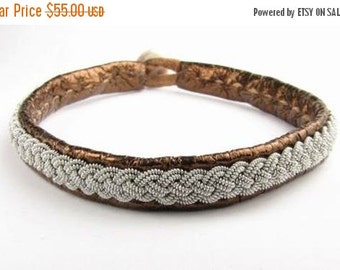 CIJ SALE Copper Metallic Sami Bracelet - Leather Wrap Tin Metal Thread Braided Bracelet with Reindeer Leather and Antler Button Clasp