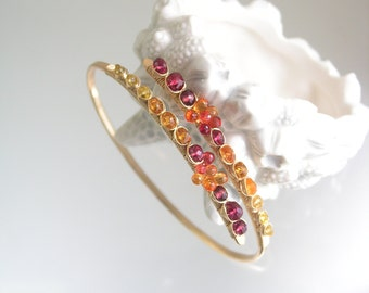 Fiery Sapphire Gold Filled Bangle, Red Spinel Bracelet, Wire Wrapped, Stackable, Fire Gemstones, Original Design, Signature, Made to Order