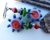 Etched Lampwork Spinner Earrings in Purple, Blue and Red