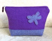 Purple Dragonfly Zip Pouch, Eco Friendly, Upcycled Sweater Wool Clutch