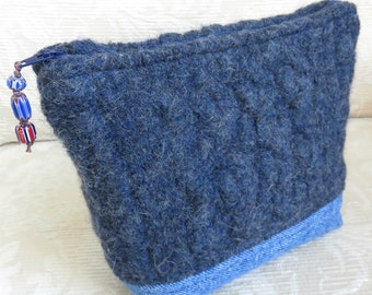 Blue Wool and Denim Zip Pouch, Eco Friendly Upcycled Sweater Wool and Denim Clutch