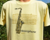 80s vintage tee shirt SAXOPHONE music instrument brass horn rock jazz band t-shirt Large Medium