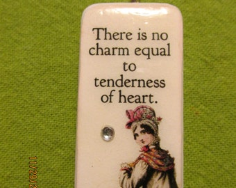 Jane Austen Quote domino pendant for necklace
